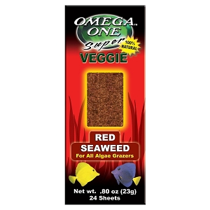Omega One Super Veggie Red Seaweed Algae Grazer Fish Food, 24-sheets